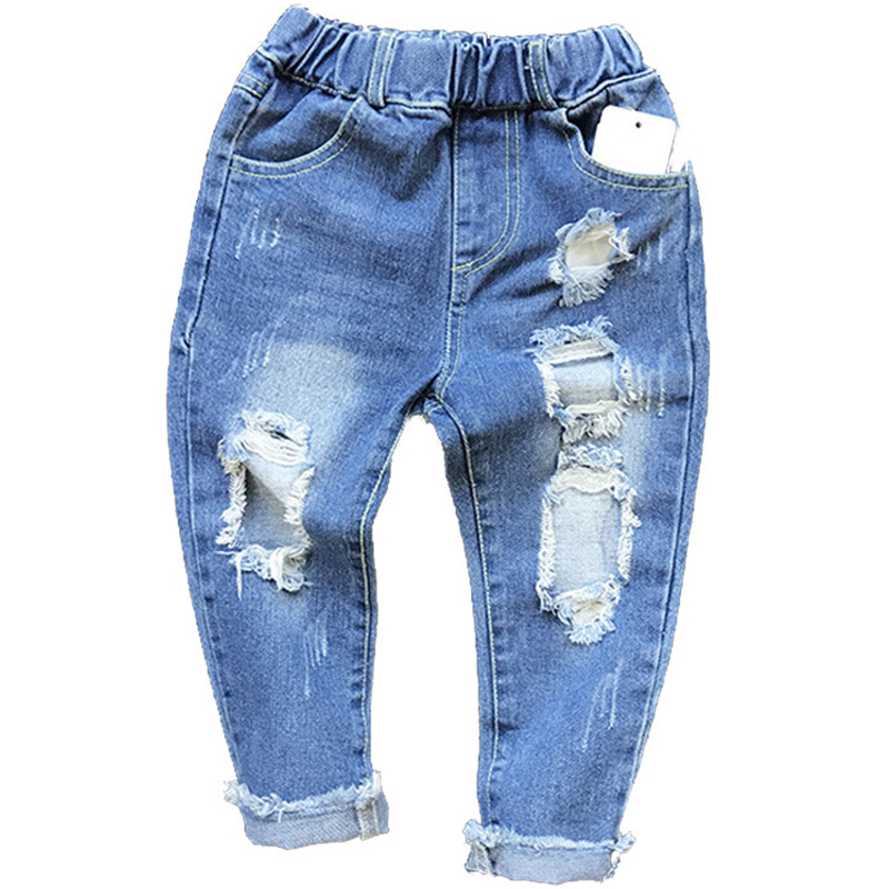 New 2018 Boys Girls Hole Jeans Pants 1-6yrs Kids Trousers Spring Fashion Designer Brand Children Denim Pants Casual Ripped Jeans(China)