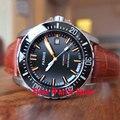 Мужские часы PARNIS 20ATM  часы для дайвинга с черным волнистым циферблатом  сапфировым стеклом  датой  керамическим ободком  автоматическое движ...