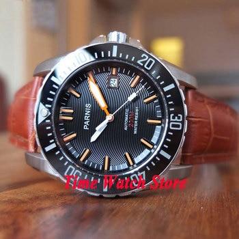 43mm PARNIS 20ATM Men's watch Dive watch Black wave dial Sapphire glass date Ceramic Bezel Automatic movement 118