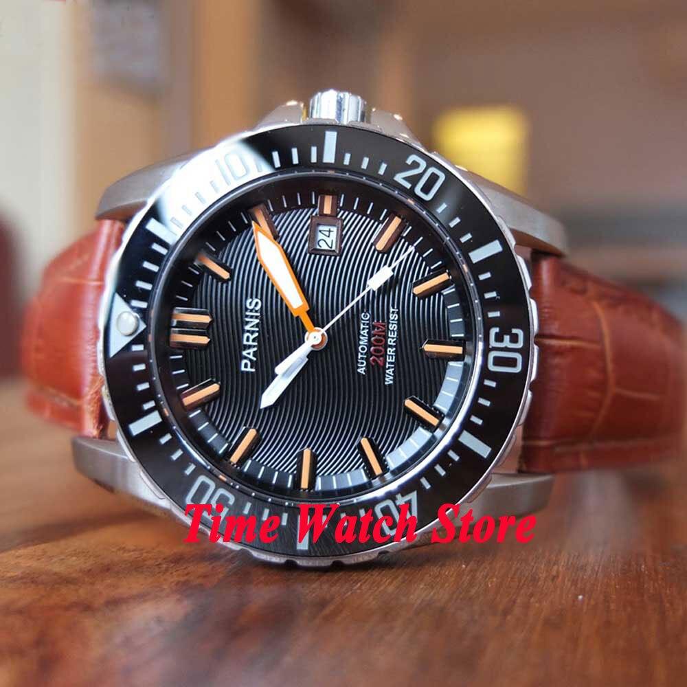 43mm PARNIS Men's watch Dive watch Black wave dial Sapphire glass date Ceramic Bezel MIYOTA 8215 Automatic movement 118 цена и фото