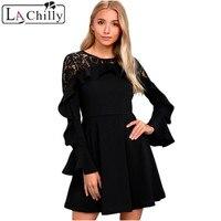 La Chilly Robe Hiver 2017 Autumn Winter Dresses Short Dress Women Black Lace Long Sleeve Skater Dress Robe Dentelle LC220164