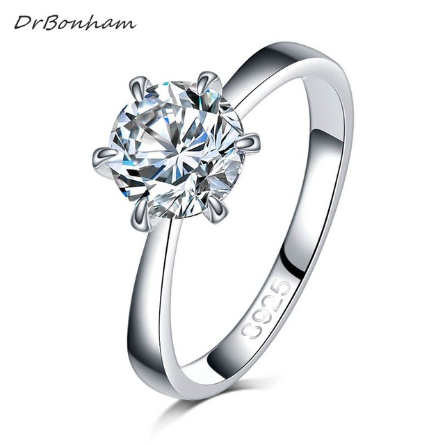Round Ring Engagement Rings 6 Prongs Setting Cubic Zirconia Anel Jewelry For Wom