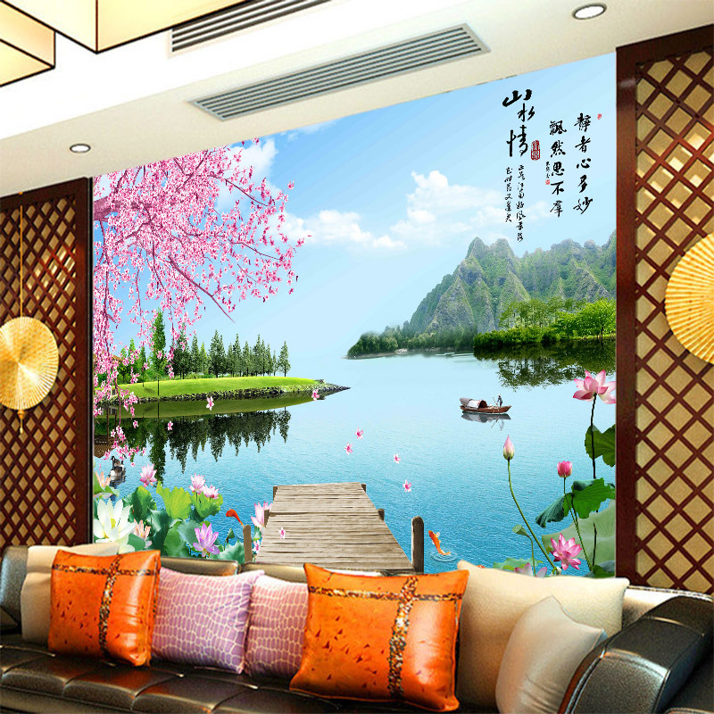 Customized Wallpaper Mural Large 3d Chinese Style Landscape With Cherry Lotus Bird Behind Sofa As Background In Room