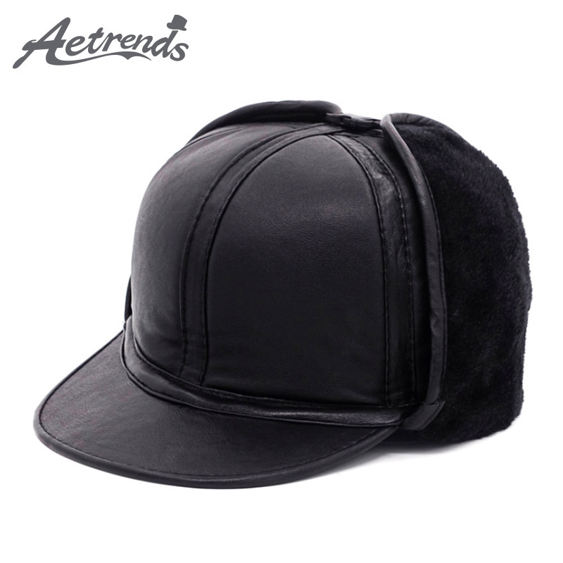 Bomber-Hats Winter 100%Genuine-Leather Men AETRENDS with Velvet Fur Inside/Dad/Hat/Z-5497