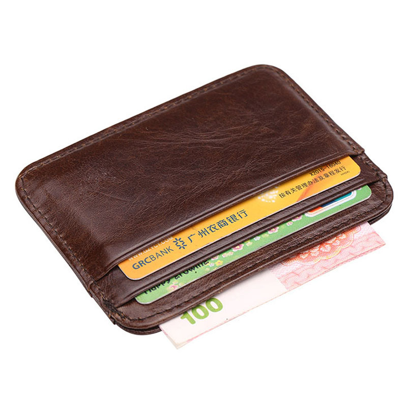New arrival Vintage Mens Genuine leather credit card holder small wallet money bag id card case mini purse for male