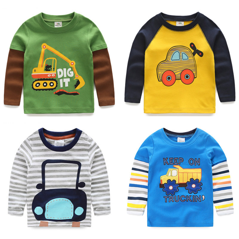 Boys T-shirt Kids Tees Baby Child Boy Cartoon Spring Children Tee Long Sleeve Stitching Cotton Cars Trucks Striped Autumn Shirt marine style striped baby boy tee shirt t shirt