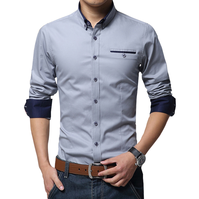 2017 New Spring Cotton Shirts Men High Quality Long Sleeve