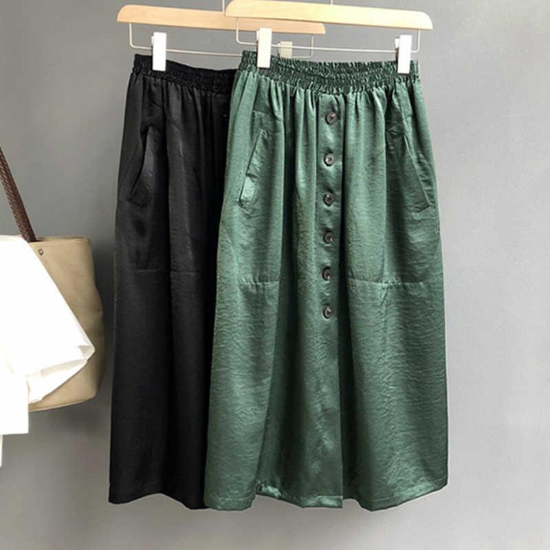 17ec022950b 2018 качественные имитированные шелковые юбки женские до середины икры  Модные осенние с эластичной талией высокие уличные