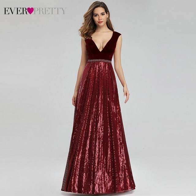 Evening Dresses Long Ever Pretty EP07840 Sexy Deep V-neck Beading Sequined Sparkle New Formal Party Gowns 2020 Abendkleider 2