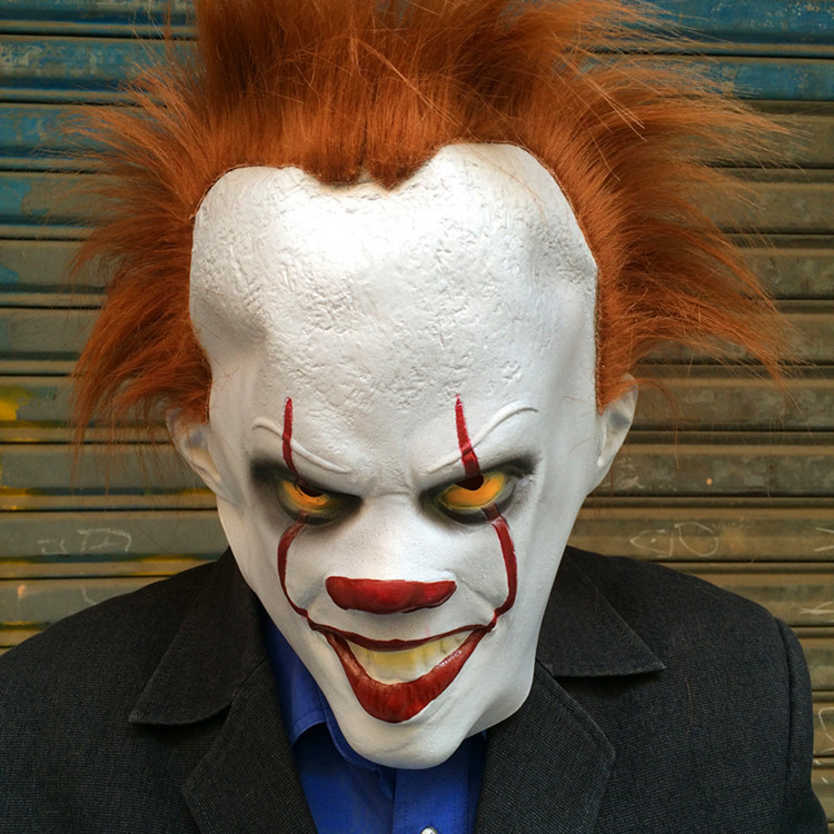 stephen kings it pennywise the clown costume mask cosplay masks red hair clown joker halloween costumes for men adult horror in boys costume accessories