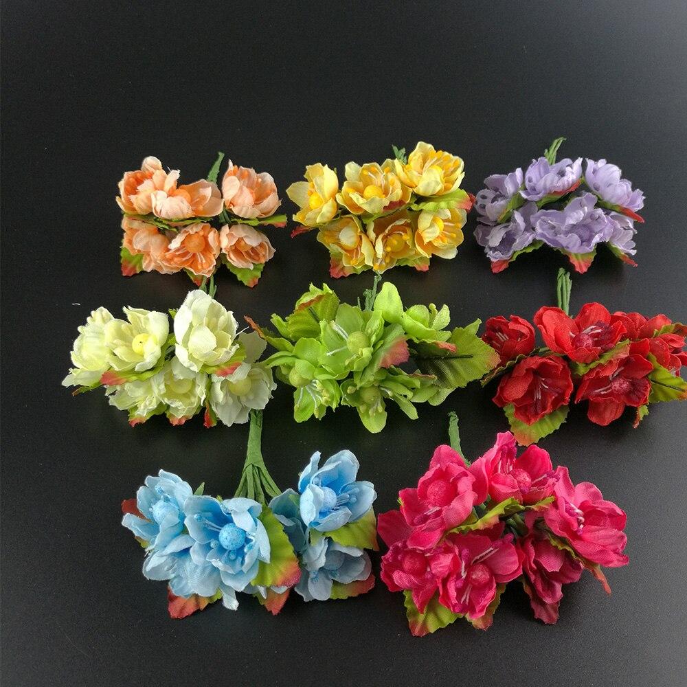 12 шт. мини Ткань алычи blossom искусственный цветок шелк Детские дыхание цветочный букет, механизмы стол Weddding Аксессуары