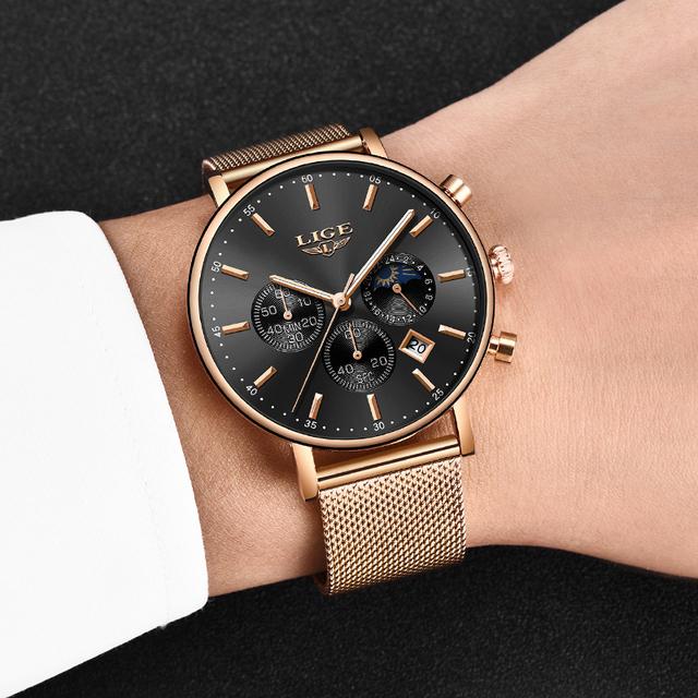 Valentine Gift Clock Rose Gold Women LIGE  Watch Business Quartz Watches Ladies