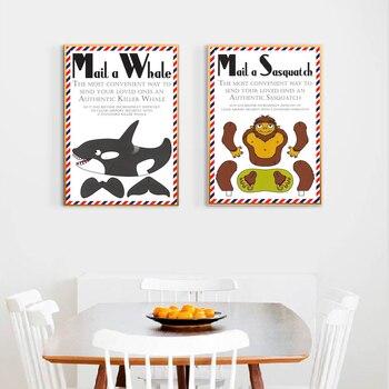 Correo una ballena Sasquatch citas de dibujos animados lienzo pintura Vintage carteles pegatinas de pared clásicas arte de pared para guardería decoración de dormitorio infantil