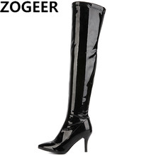260b4bf5275d Plus Size 48 Women Thigh High Boots Fashion Patent Leather Over The Knee Boots  Sexy Nightclub Dance Ladies Shoes Red Black White