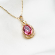 Yunkingdom Top Quality Cubic Zirconia Big Pendant Choker Red Crystal Gold Color Long Necklaces for Women(China)