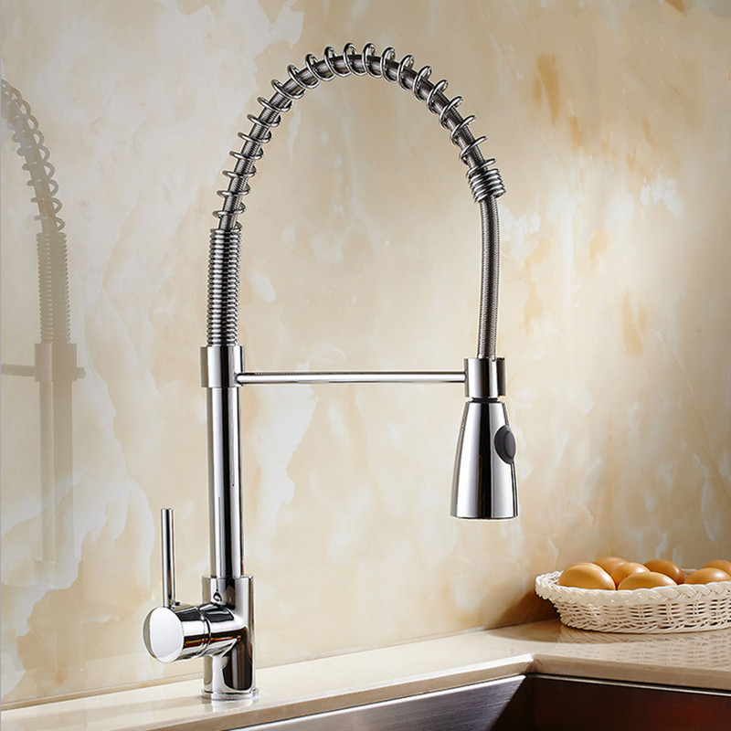 Free shipping Top quality solid brass kitchen sink faucet of polished chrome kitchen faucet with hot