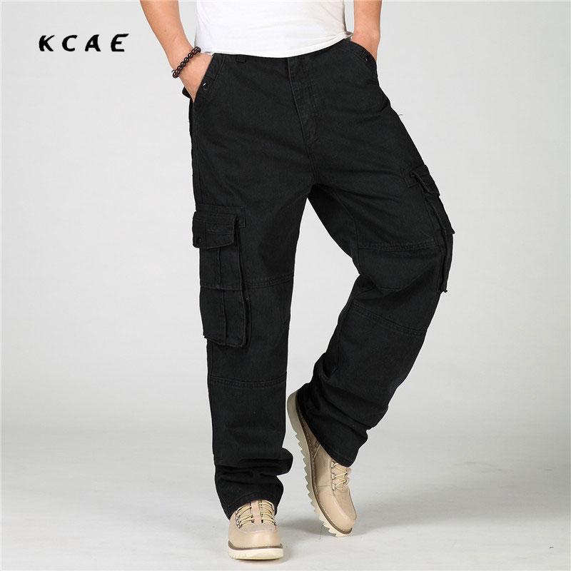 2017 New Men Baggy Black Multi-Pocket Jeans Plus Size 30-46 Hip Hop Streetwear Skateboarder Jeans Loose Fit Free Shipping