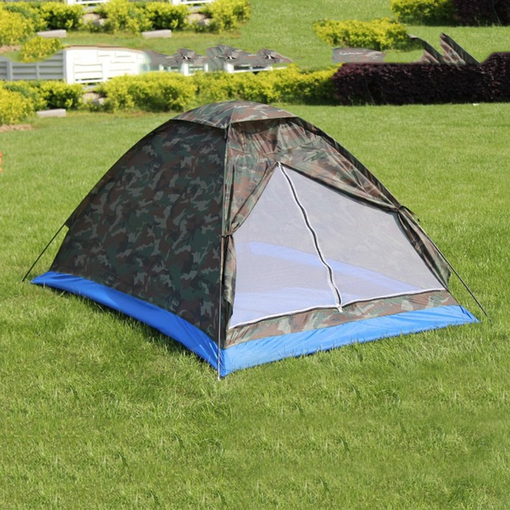 Single Layer 2 People Waterproof Camouflage Camping Hiking Tent Lightweight Outdoor Beach Travel Picnic Fishing Tent Drop ship quick installation 2 room 1 hall 5 window 8 10 people waterproof outdoor garden fishing hiking camping tent drop shipping