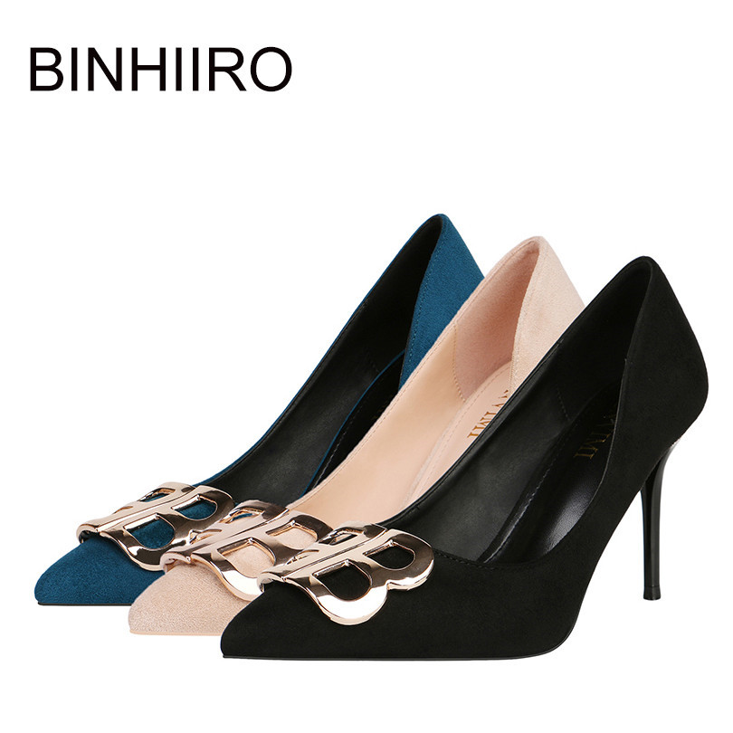 BINHIIRO Classice Women Pumps Flock Pointed Toe Spring Fashion Women Shoes Party Wedding Super Thin High Heel Ladies Pumps 2019