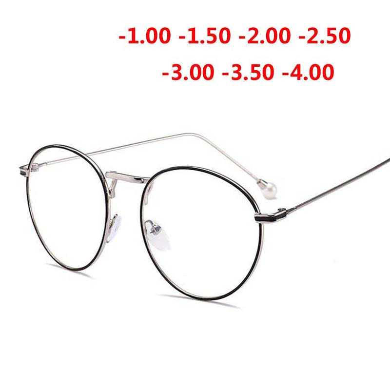 Women Round Metal Glasses Frame Fashion Pearl Eyewear Myopia Glasses -1.0 -1.5 -2.0 -2.5 -3.0 -3.5 -4.0 -4.5 -5.0 -5.5 -6.0