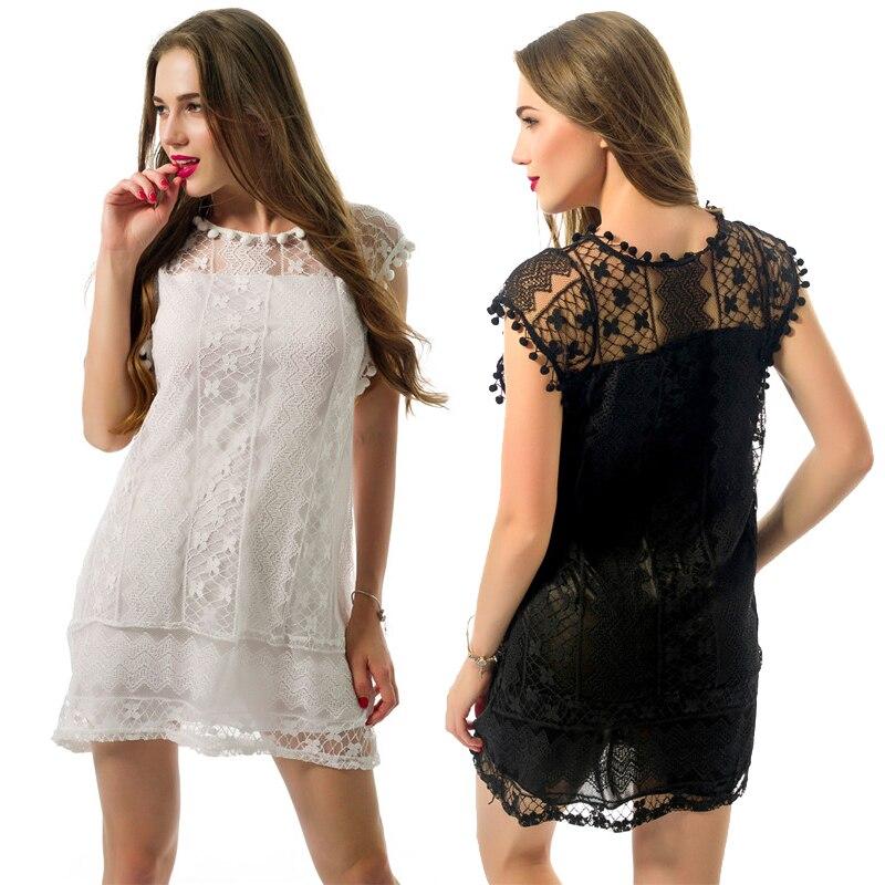 MERSALEE más tamaño verano 2018 mujeres borla negro blanco Mini vestido de encaje Casual playa Sexy Party Club Vestidos