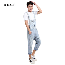 2016 New Men Thin Denim Overalls Shorts Light color Washed Plus Size S-5XL Jeans BiB Overalls Jumpsuits