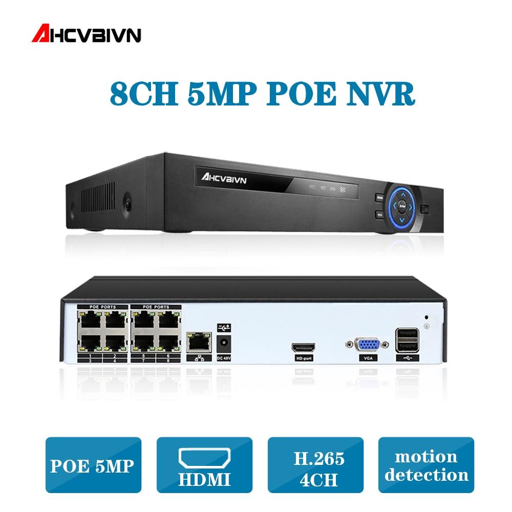 Video Surveillance H.265 PoE NVR 4 8Channel For HD 1080P IP Camera PoE 4CH 8CH PoE NVR 4MP 5MP 48V 802.3af ONVIF 2.0 hiseeu DVR