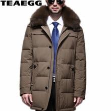 TEAEGG High Quality Khaki Hooded Winter Jacket Men Duck Down Jacket Natural Fox Fur Collar Parkas Winter Jackets Men Coat AL414
