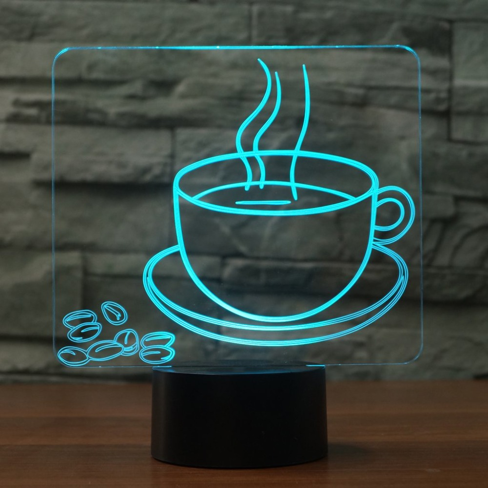 3D Visual Table Lamp 7 Color Changing Hot Coffee Cup NightLight LED Bedside Light Fixture Gifts Sleep Lighting Restaurant Decor