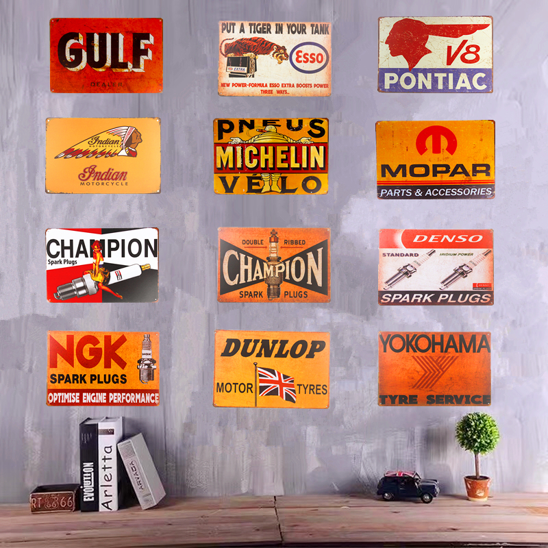 Vintage Tin Metal Signs Plaques Champion spark plug V8 Indian Motorcycle Art Poster Garage With Striking, Home Decor, Man Cave