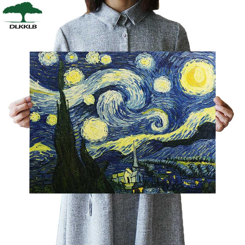 Van Gogh Impresionis Karya Lukisan Langit Berbintang Seni Kertas Poster Bar Cafe Home Perhiasan Stiker Dinding Lukisan Dekoratif