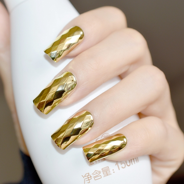 24pcs Gold Metallic Nail Art Tips Diamond Design Long Flat Mirror Acrylic  Finished Nails for Decoration - 24pcs Gold Metallic Nail Art Tips Diamond Design Long Flat Mirror