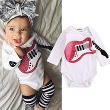 Säuglingsbaby Boy Gitarre Body Baumwolle Herbst Nette Bodys Overall Outfits Baby Baumwolle einteilige Kleidung