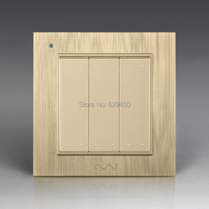Free Shipping, Kempinski Luxury Wall Switch, 3 Gang 1 Way, Light Switch, AC 110~250V, X8 series kempinski wall switch 3 gang 1 way light switch champagne gold color special texture c31 sereis 110 250v popular