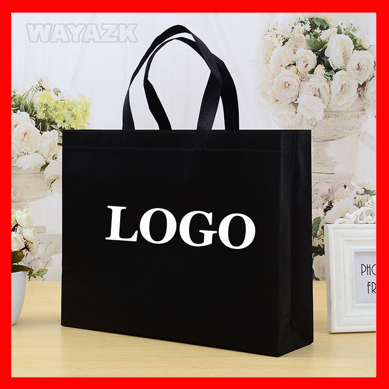 100pcs lot personalized custom logo shopping bag with your own brand logo printed for promotion