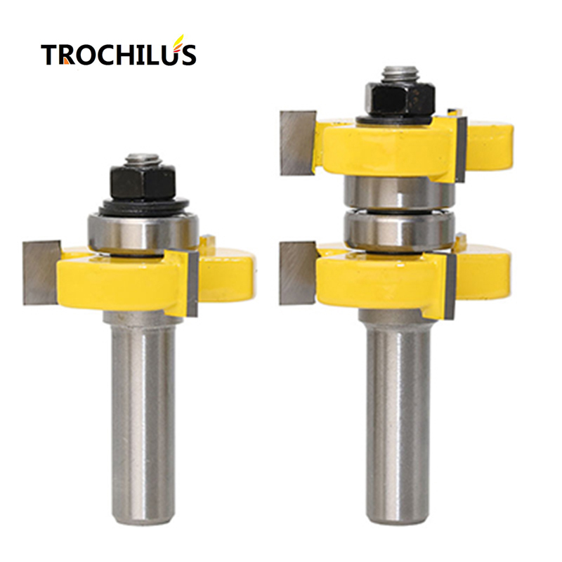 1/2 Handle Carbide 3-tooth T-Shaped Cutter Woodworking Milling Cutter cnc router bits high quality end mill high grade carbide alloy 1 2 shank 2 1 4 dia bottom cleaning router bit woodworking milling cutter for mdf wood 55mm mayitr