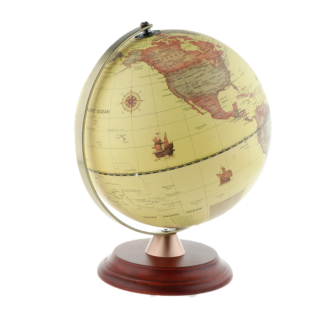 Spinning World Globe Ocean Map With Wooden Stand Geography