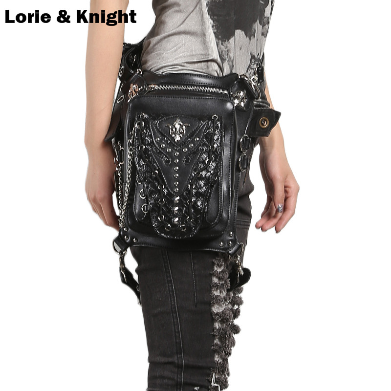 2017 Black Leather Punk Rock Messenger Bag Motorcycle Belt Fanny Pack Waist Bag Leg Thigh Holster Bag
