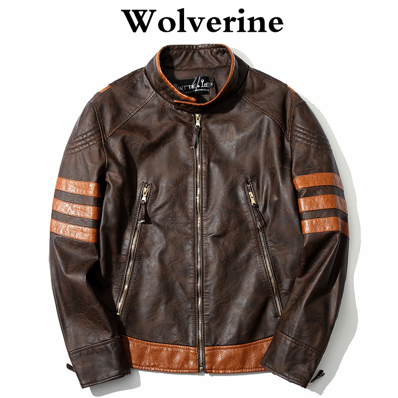 Men Leather Jacket Cosplay X Men Wolverines James Logan Jacket PU Motorcycle Jackets Male Coat Autumn Winter Clothing M-4XL