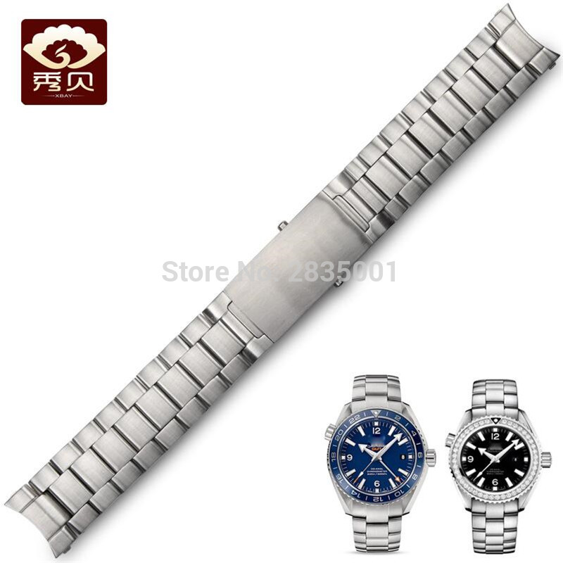 New Chunky 316L Stainless Steel Watchband Brushed Silver Bracelet Solid Band 20mm 22mm Fit for Omega