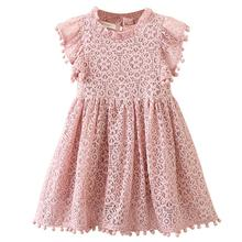 Children Girl Summer Lace Flying Sleeve Princess Hollow-out Dress