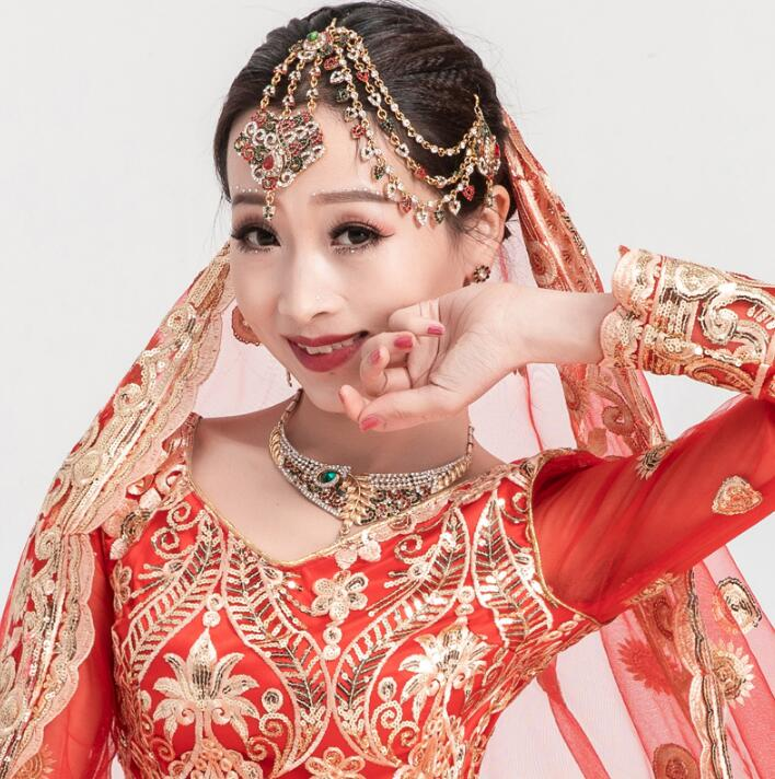 Stage Prop India Girl Dance Accessory Woman Bellydance Ring Performance Headwear Belt Bracelet