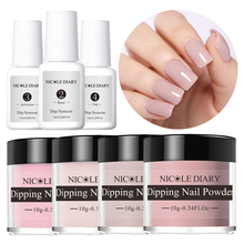 NICOLE DIARY 10ml Dip Dipping Nail Powder Set  Pink Series French Glitter Without Lamp Cure Manicure Art Liquid 7ml