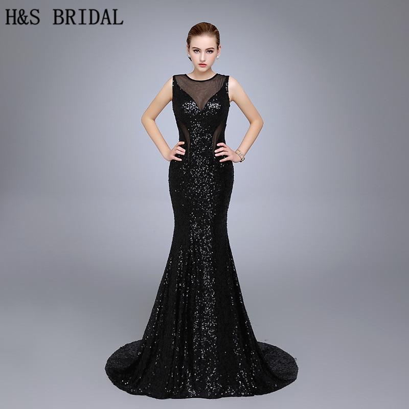 HS21 핫 판매 인어 O 넥 스트랩 Backless 블랙 스팽글 - 특별한 날을위한 드레스