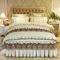 4Pcs Lace and cotton embroidery luxury bedding sets queen king size duvet cover set bed skirt set pillowcase bedclothes