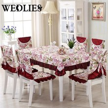 13pcs/set Floral Embroidery Crocheted Table Clothes Set Vintage Polyester Tablecloth Chair Cover Home Wedding Decoration