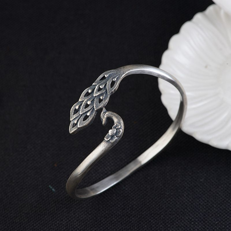 FNJ 925 Silver Peacock Bangle Adjustable Size 60mm Flower Original S925 Sterling Silver Bangles for Women JewelryFNJ 925 Silver Peacock Bangle Adjustable Size 60mm Flower Original S925 Sterling Silver Bangles for Women Jewelry