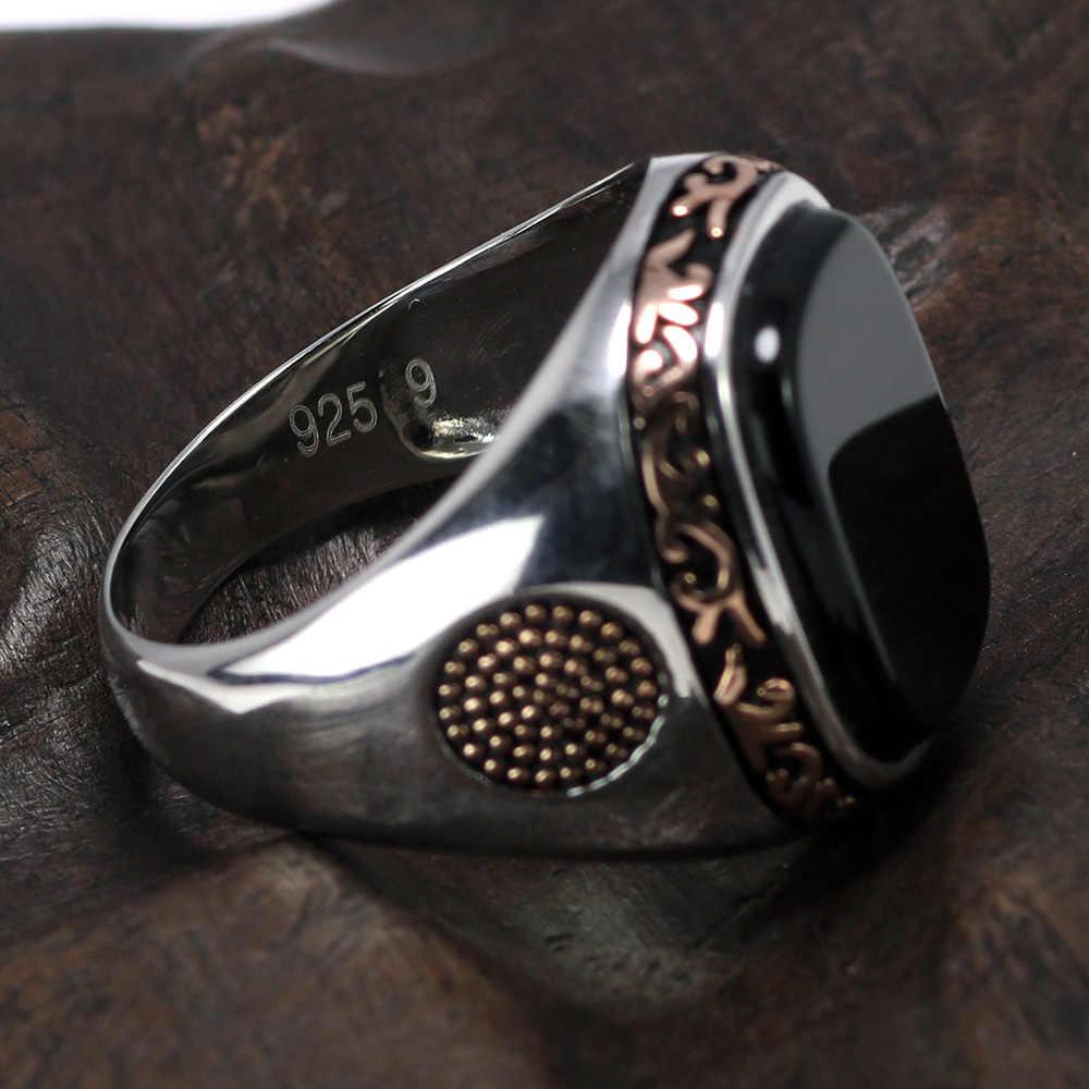 Real Pure Mens แหวนเงิน s925 Retro Vintage ตุรกีแหวนผู้ชายสีดำธรรมชาติหินนิลตุรกีเครื่องประดับ
