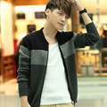 SexeMara 2017 New Arrival Spring Warm Sweatercoat Jacket Men Sweater V-Neck Patchwork Style Knitted Short Sweaters