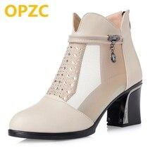 OPZC 2018 új nyári valódi bőr háló női szandál üzleti ruha női szandál divat nagy méret 41 42 High sarkú cipő
